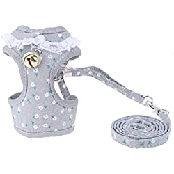 PEHTEN Ajustable Chest Pet Chest Vest Dog Harnesses Pet Collars Chest Back Traction Belt Walking Lead Leash Strap Belt Bowtie Suit New Silver M