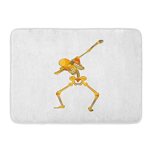 Ptrfedss Doormats Bath Rugs Outdoor/Indoor Door Mat Stock Orange Yellow Skeleton Character Dancing Dab Step Hip Hop Pose Meme for Happy Halloween Cartoon Bathroom Decor Rug 16