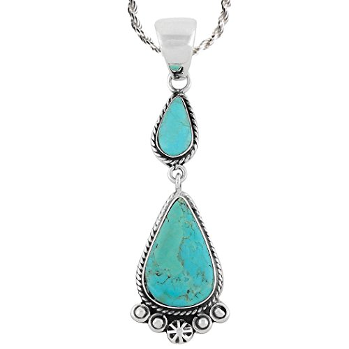 Turquoise Necklace 925 Sterling Silver & Genuine Turquoise Pendant with 20
