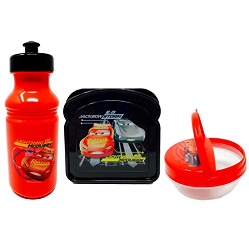 Cars 3 Lightning Mcqueen Jackson Storm Bread Shaped Container 14.2 fl oz/422 ml, Pull-Top Bottle 17.3 fl oz/511 ml,Cars 3 Flip Top Snack Container 8 fl oz/236.5 ml, Great Set for your childs Lunchbox