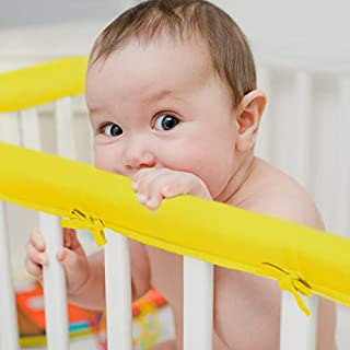 EXQ Home 3-Piece Baby Crib Rail Cover Set for 1 Front Rail and 2 Side Rails,Safe Kids Padded Crib Rail Protector from Chewing for Standard Cribs,Soft Batting Inner for Baby Teething Guard(Yellow)