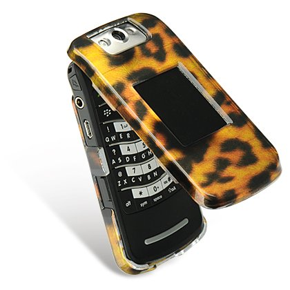 RIM Blackberry Pearl Flip 8220 Leopard Design Snap-On Case Cover with Removable Swivel Belt Clip