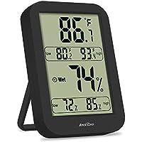IREGRO Indoor Hygrometer, Accurate Digital Thermometer Humidity Temperature Gauge Monitor Home Bedroom Office Babyroom (Black)