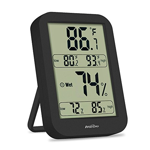 IREGRO Indoor Hygrometer, Accurate Digital Thermometer Humidity Temperature Gauge Monitor for Home Bedroom Office Babyroom (Black) by IREGRO