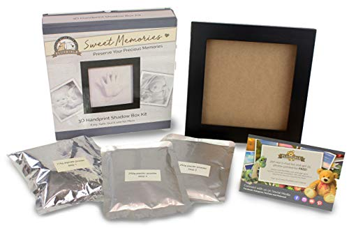Plushible Baby Handprint Kit - Baby Plaster Mold Handprint Picture Frame - Desktop Picture Frame - Gift Registry and Baby Shower Gift