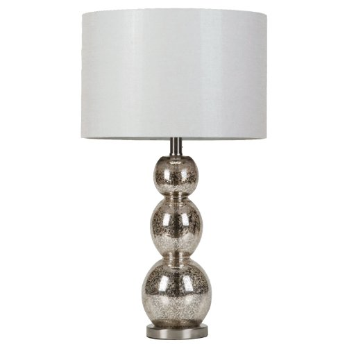 Coaster Home Furnishings Drum Shade Table Lamp White and Antique Silver