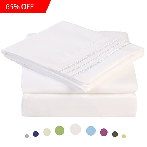 Bed Sheet Set - Microfiber Bedding Deep Pockets sheets 4 pc by Maevis (White,King)