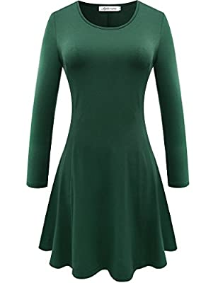 Aphratti Women's Long Sleeve Casual Slim Fit Crew Neck Dress