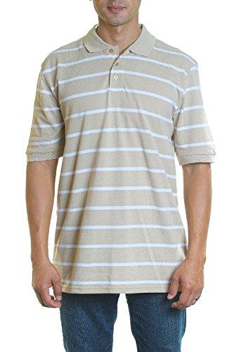 Split Striped Polo Shirt - YAGO Men's Short Sleeve Striped Pique Polo Shirt (Khaki/White, 3X-Large)