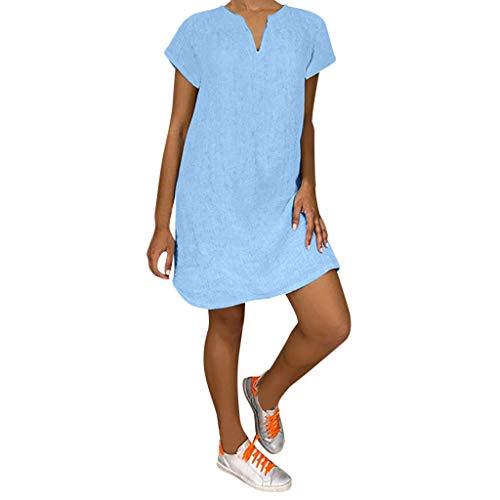 TIANMI Women Summer V Neck Short Sleeve Shirt Casual Tops Dress(H Blue,M)