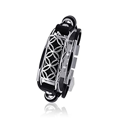 Fitbit Bracelet Fusion - FitBit flex Jewelry - 925 sterling silver - rhodium plated- real leather
