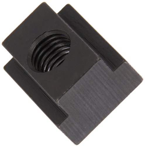 1018 Steel T-Slot Nut, Black Oxide Finish, Grade 5, Tapped Through, 3/8