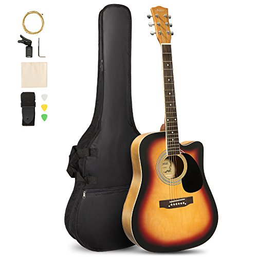 ARTALL 41 Inch Handcrafted Acoustic Cutaway Guitar Beginner Kit with Gig bag & Accessories, Matte Sunset