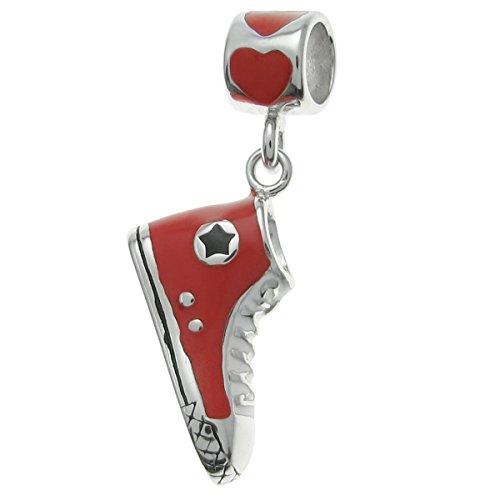 Dreambell 925 Sterling Silver Love Sneaker Shoe Red Enamel Dangle for European Charm Bracelet (Pandora Charms Sneaker)