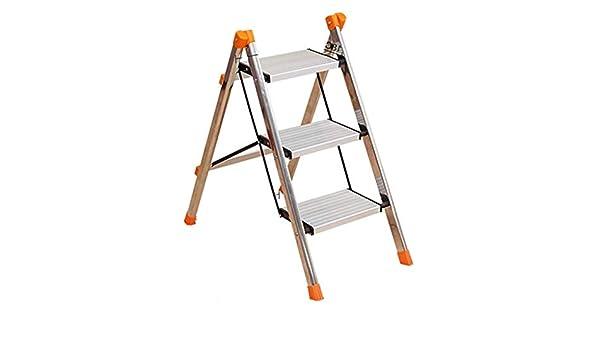 LLTD Escalera de Aluminio de Acero Inoxidable Escalera de Tres Pasos Escalera de hogar Escalera Plegable Escalera pequeña: Amazon.es: Hogar
