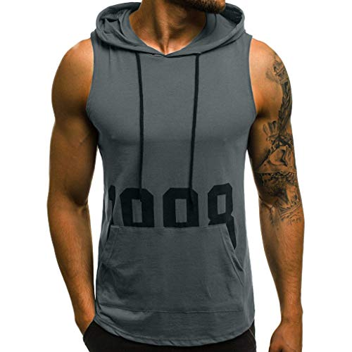 (PASATO M-XXL Men Letter Printing Fitness Muscle Hole Bodybuilding Skin Tight-Drying Tops Blouse Vest Sleeveless Hooded T-Shirt(Gray,L=US:M))