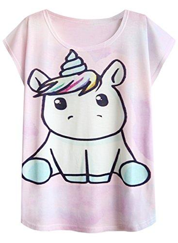 Futurino Women's Summer Colorful Bow Tie Unicorn Print Short Sleeve T-Shirt Tops (L, Baby Unicorn)