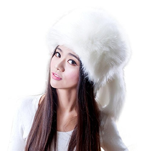 57699d6c678c9 ShenPourtor Fashion Warm Thick Winter Tail Beanie Beret Cap Women Faux Fox  Fur Ear Hat (White) - Buy Online in Oman.
