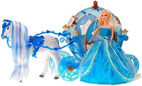 BSD Muñeca Princesa - Muñeca Cenicienta con Carruaje u Caballo - Azul