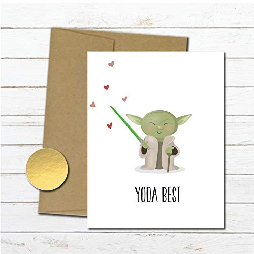 Star Wars Thank You Card Notecard, Star Wars Gift, Best Friend Card, Card for Boyfriend, Card for husband, Card for him, Yoda, Just -