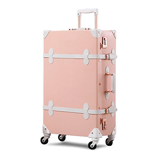 Unitravel Vintage Suitcase Retro PU Trunk Rolling Spinner Lightweight Luggage by Unitravel