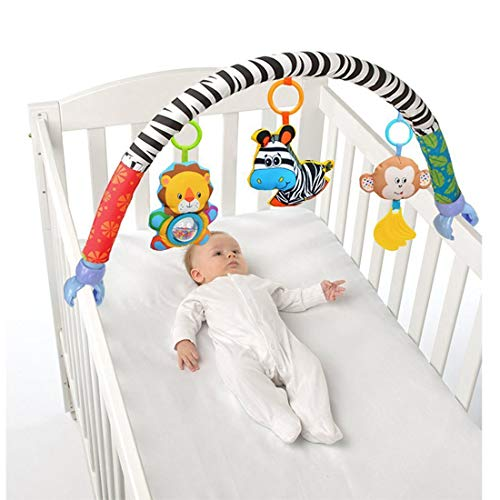 - VX-star Baby Travel Play Arch Stroller/Crib Accessory,Cloth Animmal Toy and Pram Activity Bar with Rattle/Squeak/Teethers(Stripe)