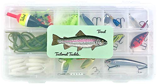 Speckled Trout Bait - Tailored Tackle Trout Fishing Kit 98 pcs. Gear Set Lures Spinners Jerkbait Crankbait Worms Jigs Hooks Sinkers Float