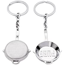 N.egret 2 PCS Golden PUBG Pan Jewelry Keychain Gaming Gift Ring for Teammate Best Friend