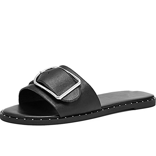 Largo Remache Sandales Abotonados De Abrochan Correa Remaches Frescos Cinturón Nuevos Lo Los Ocasionales Del A Moda Hebilla La Metal Zapatos Negro Planos Deslizadores 0r0Rxw