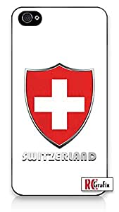 iphone covers Premium SWISS Switzerland National Flag Badge Direct UV Printed iPhone 6 plus Quality Hard Snap On Case for Iphone 6 plus 4G - AT&T Sprint Verizon - White Case Cover