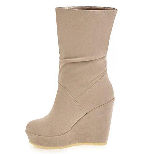 Chaussures Beige Hiver Compenses Automne Femmes Bottines Talons Mode et TAOFFEN Bottes vxwXgE