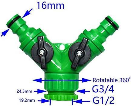 CFYRY ガーデンタップ2ウェイタップY-コネクタガーデンホース2ウェイコネクタアダプタ高品質ABS素材1PCS (Color : Green)