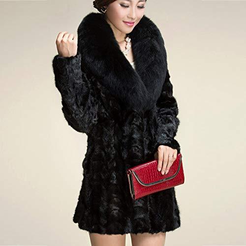 Pelliccia Outwear Lana Cappotto Inverno Parka Elegante In Donna Sintetica Calda Capispalla Nero Per Elecenty 8HqF7ndF