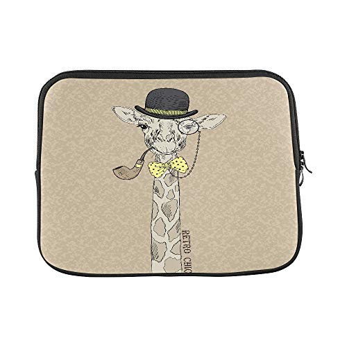 Design Custom Giraffe in Bowler Hat Monocle and Tobacco Tube Sleeve Soft Laptop Case Bag Pouch Skin for MacBook Air 11