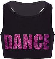 LiiYii Kids Girls Racer Back Sports Bra Dance Tank Tops Shiny Letter Printed Cheerleading Dancewear Mini Cami