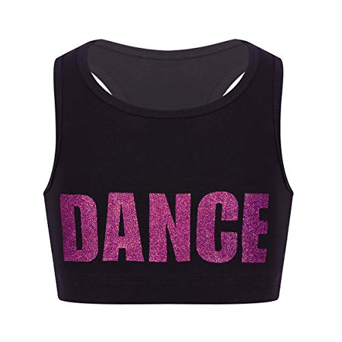 inlzdz Little Big Girls Glittery Dance Racerback Crop Top Sports Bras Gymnastics Ballet Athletic Tees Tank Rose_Red - Crop Cheerleading
