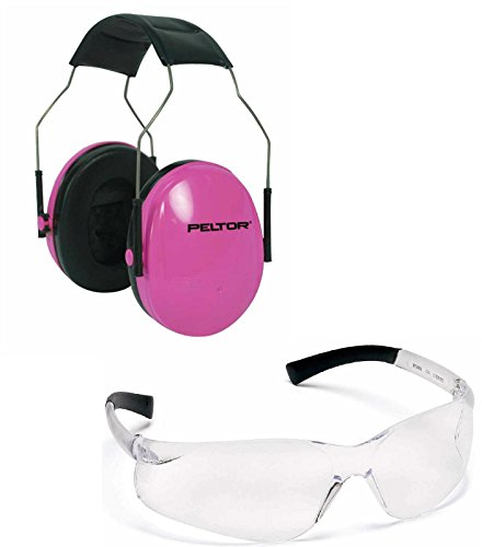 Peltor 97022 Junior Pink Adjustable Folding Earcup Earmuff Ear Muff NRR 22 Youth Children, Small Adult & Women + Ultimate Arms Gear Tactical Shooting Frame Lens Safety Glasses Eye Eyewear (Combat Arms Ear Plugs)