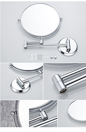 Ysayc Vanity Mirror Double-sided 3x Magnification Wall Mounted Hanging 360° Swivel Bath Spa Hotel Round Bathroom Cosmetic Mirror wall-mounted-mirrors, Silver by Ysayc (Image #3)