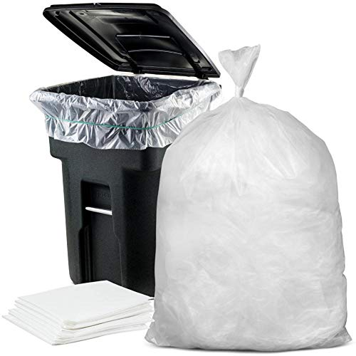 Plasticplace 95-96 Gallon Garbage Can Liners Heavy Duty Trash Bags, 1.5 Mil, Clear, 61