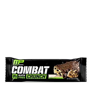 Musclepharm Combat Crunch Protein Bar Multi-layered Baked Bar Gluten-free Bars 20 G Protein Low-sugar Low-carb Gluten-free Chocolate Chip Cookie Dough Bars 12 Servings by Muscle Pharm