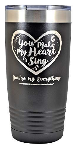 You Make My Heart Sing You're my Everything - Stainless Steel Vacuum Insulated Heart Travel Mug Wife Husband Happy Smile Gift Valentine Her Him Anniversary Birthday Mothers Day Christmas (Black, 20oz)