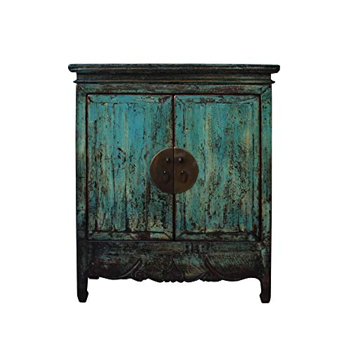 Chinese Distressed Rustic Blue Teal Turquoise Foyer Console Table Cabinet Acs4535