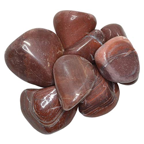 Hypnotic Gems Materials: 1 lb Red Striped Dolomite Tumbled Stones - Grade 1 - XLarge - 1.5
