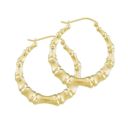 14K Yellow Gold Round Bamboo Hoop Hollow Earrings 1 3/8 (Bamboo Yellow Earrings)