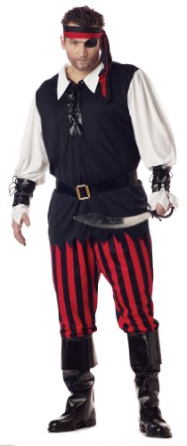 (California Costumes Men's Plus Size Cutthroat Pirate Costume,White/Black/Red,)