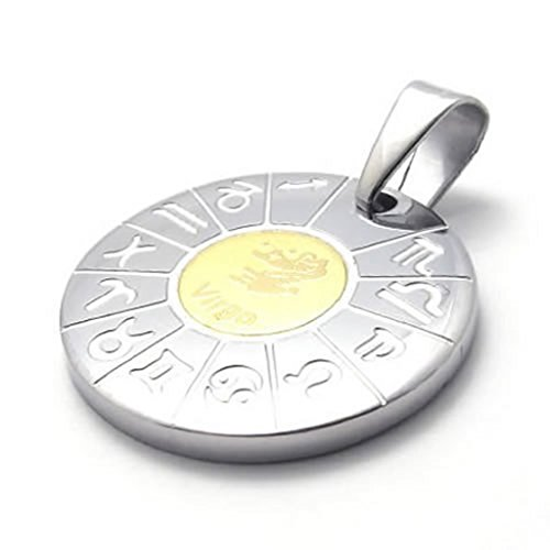 Zodiac 14 Pendant Light - Stainless Steel Necklaces, Women's Men's Pendant Necklaces Zodiac Virgo 24Inch