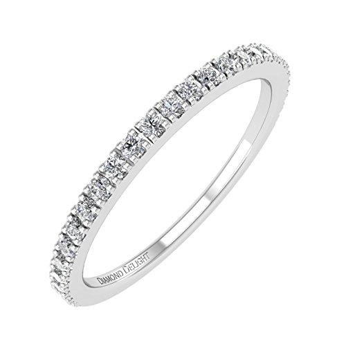 (10K White Gold Wedding/anniversary Diamond Band Ring (0.22 Carat) - IGI Certified)