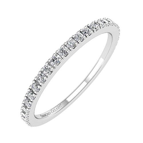 IGI Certified 10K White Gold Wedding/anniversary Diamond Band Ring (0.22 Carat) - Gold Half Eternity Diamond