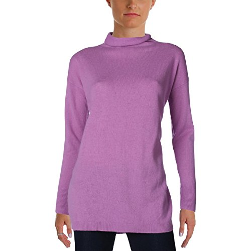 Cashmere Long Sleeve Funnel-Neck Sweater Purple S (Cashmere Funnel Neck Sweater)