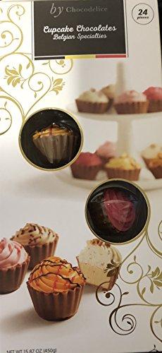 By Chocodelice Mini Cupcake Chocolates Belgian Specialties(Lemon Cheesecake, Salty Fudge Creme, Raspberry Ganache, Salted Caramel, Strawberry Fondant, Cappuccino Ganache)